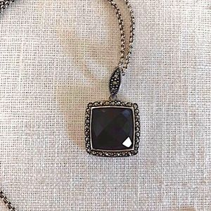 JUDITH JACK Onyx Marcasite Sterling 925 Necklace
